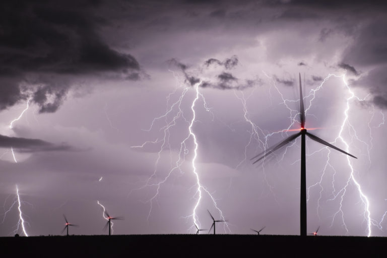 Lightning Strikes over a wind farm